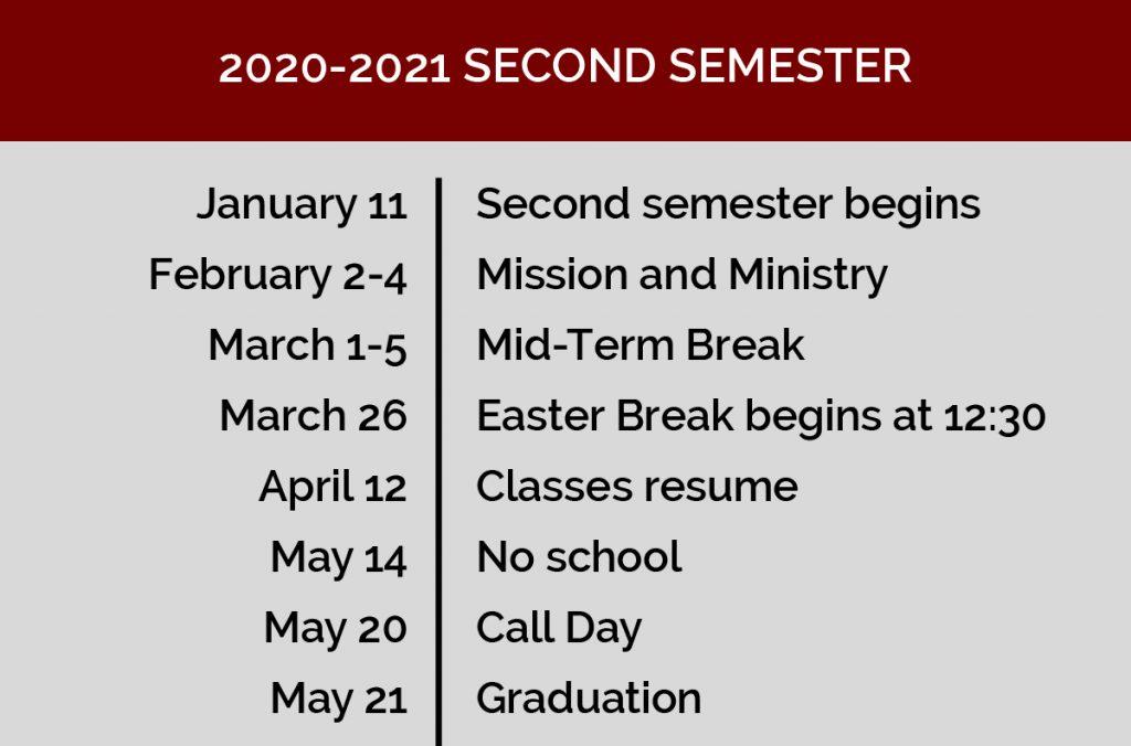 Second semester calendar